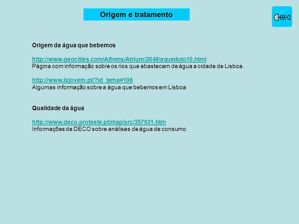 Origem da água que bebemos http://www.geocities.com/Athens/Atrium/2046/aqueduto10.html Página com informação sobre os rios que abastecem de água a cidade de Lisboa.