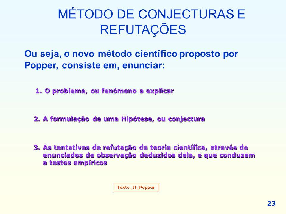 23 MÉTODO DE CONJECTURAS E REFUTAÇÕES Ou seja, o novo método científico proposto por Popper, consiste em, enunciar: 1.O problema, ou fenómeno a explic