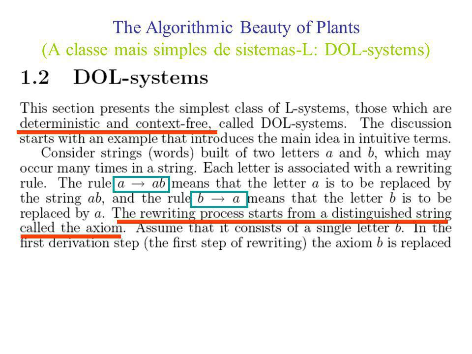 The Algorithmic Beauty of Plants (A classe mais simples de sistemas-L: DOL-systems)