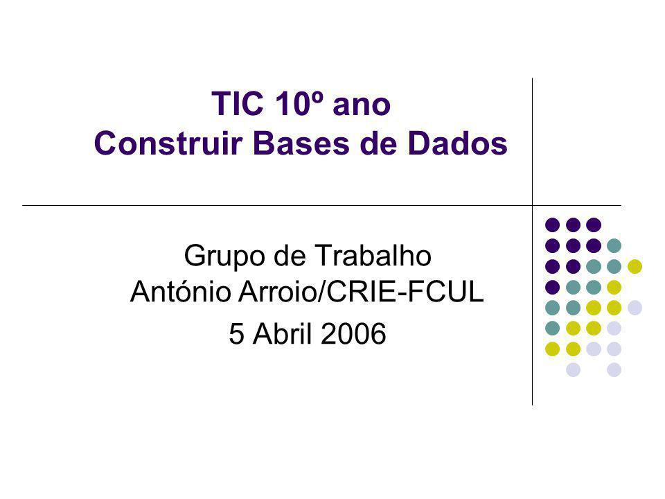 TIC 10º ano Construir Bases de Dados Grupo de Trabalho António Arroio/CRIE-FCUL 5 Abril 2006