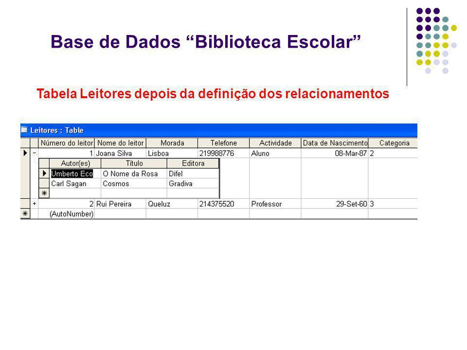 Base de Dados Biblioteca Escolar Tabela Leitores depois da definição dos relacionamentos