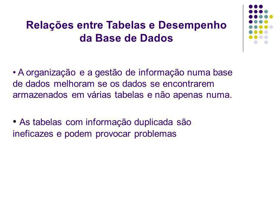 A organização e a gestão de informação numa base de dados melhoram se os dados se encontrarem armazenados em várias tabelas e não apenas numa. As tabe