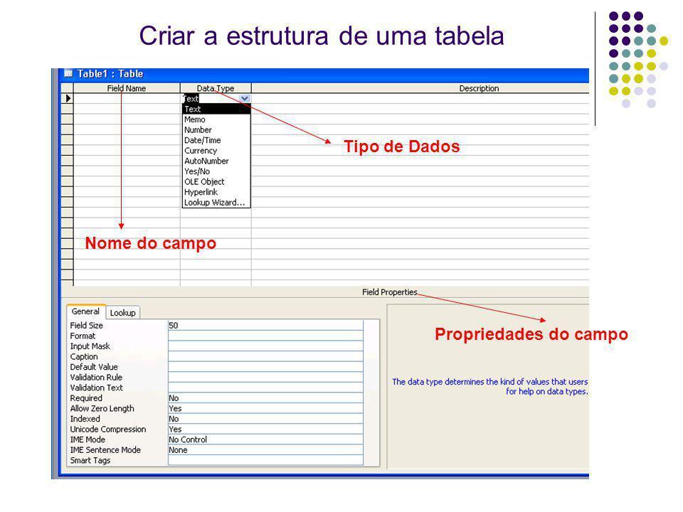 Tipo de Dados Propriedades do campo Criar a estrutura de uma tabela Nome do campo