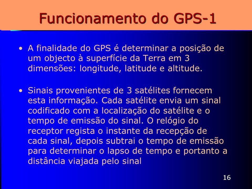 16 Funcionamento do GPS-1 A finalidade do GPS é determinar a posição de um objecto à superfície da Terra em 3 dimensões: longitude, latitude e altitud