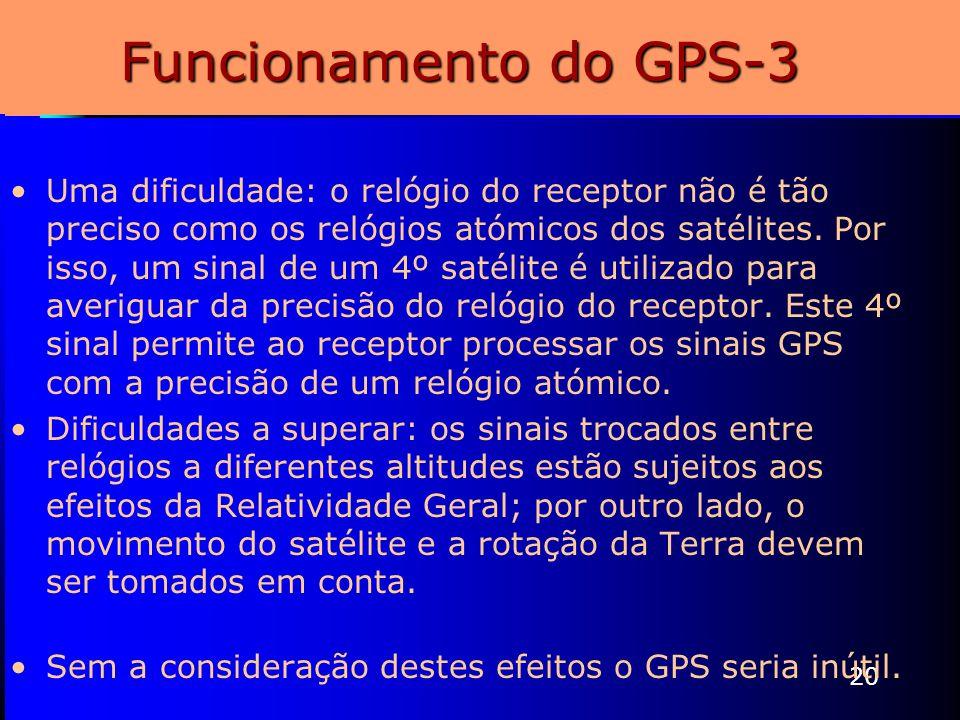 20 Funcionamento do GPS-3 Uma dificuldade: o relógio do receptor não é tão preciso como os relógios atómicos dos satélites. Por isso, um sinal de um 4