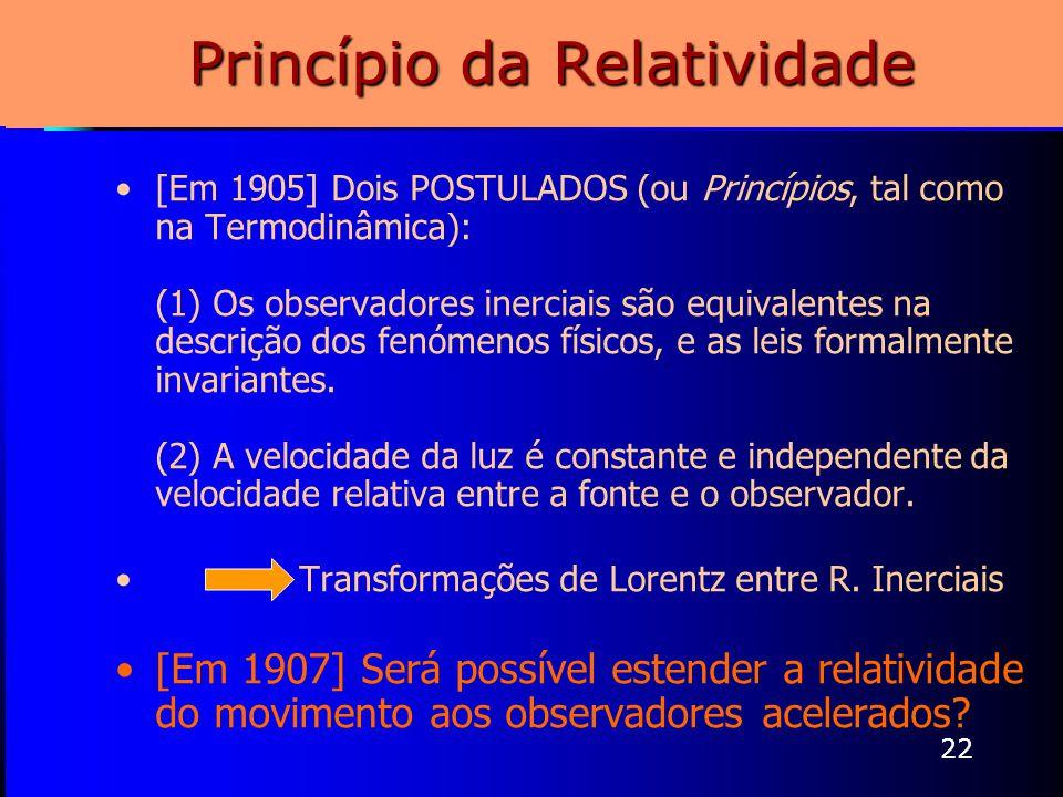 22 Princípio da Relatividade [Em 1905] Dois POSTULADOS (ou Princípios, tal como na Termodinâmica): (1) Os observadores inerciais são equivalentes na d