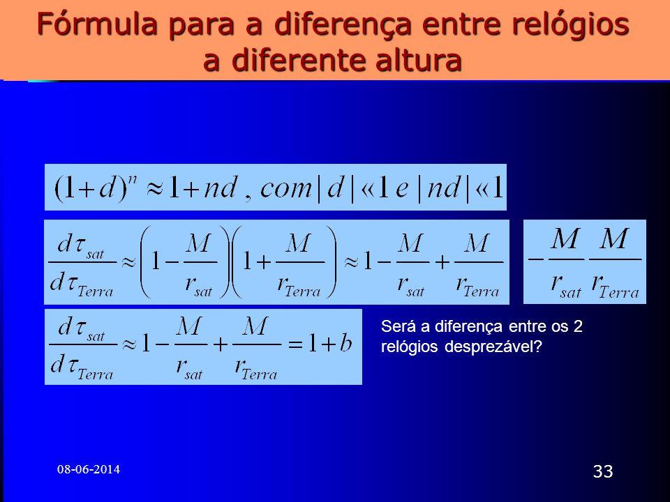 08-06-2014 33 Fórmula para a diferença entre relógios a diferente altura Será a diferença entre os 2 relógios desprezável?
