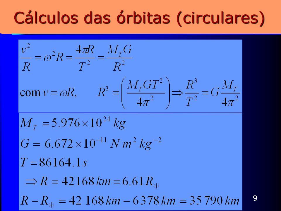 9 Cálculos das órbitas (circulares)