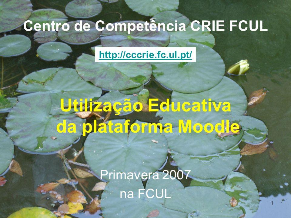 1 Utilização Educativa da plataforma Moodle Centro de Competência CRIE FCUL Primavera 2007 na FCUL http://cccrie.fc.ul.pt/