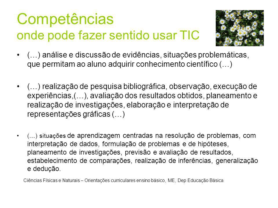 Competências onde pode fazer sentido usar TIC (…) análise e discussão de evidências, situações problemáticas, que permitam ao aluno adquirir conhecime