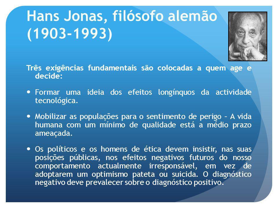 Hans Jonas, filósofo alemão (1903-1993) Três ideias importantes no sistema ecológico de Hans Jonas: A ideia de responsabilidade ecológica não corresponde a um contrato entre iguais (a natureza depende de nós – podemos destruí-la ou preservá-la).