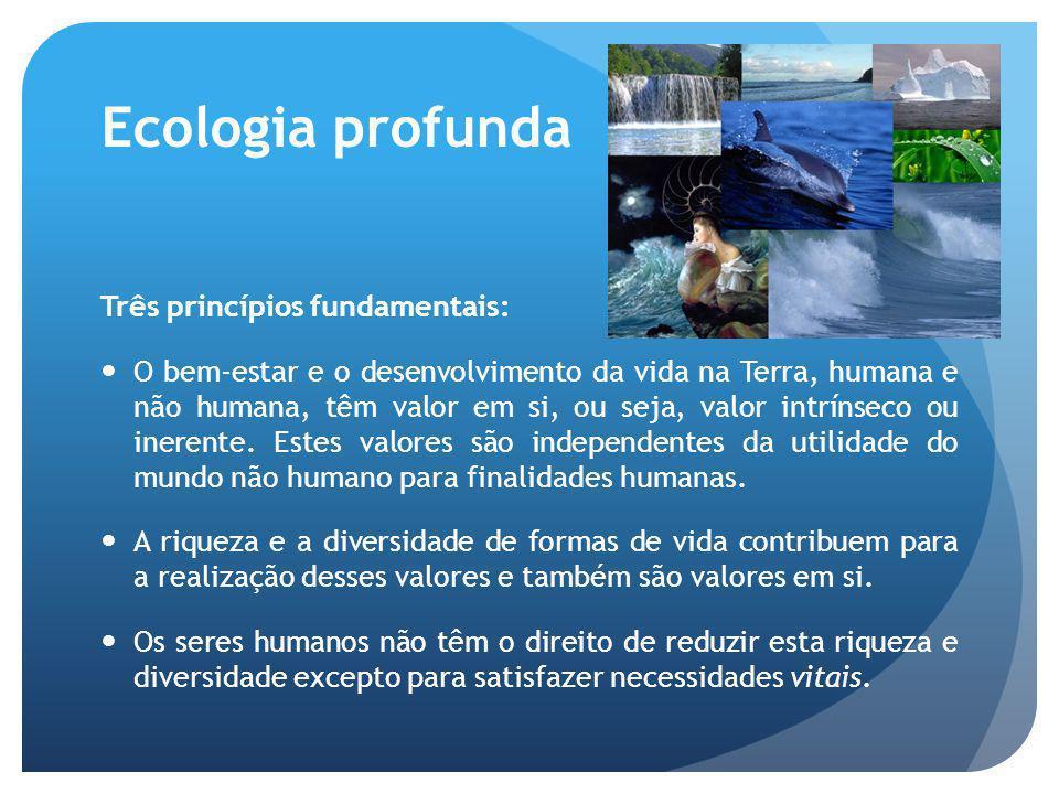 Ecologia profunda Os direitos da natureza são absolutos: temos de a respeitar unicamente por ela própria e não por nossa causa também (valor intrínseco da natureza).