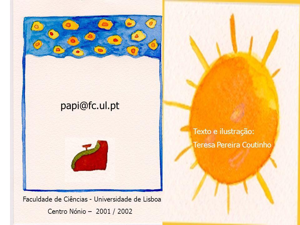 papi@fc.ul.pt Texto e ilustração: Teresa Pereira Coutinho Faculdade de Ciências - Universidade de Lisboa Centro Nónio – 2001 / 2002
