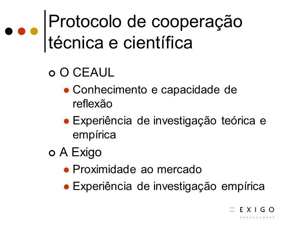 Protocolo de cooperação técnica e científica O CEAUL Conhecimento e capacidade de reflexão Experiência de investigação teórica e empírica A Exigo Prox