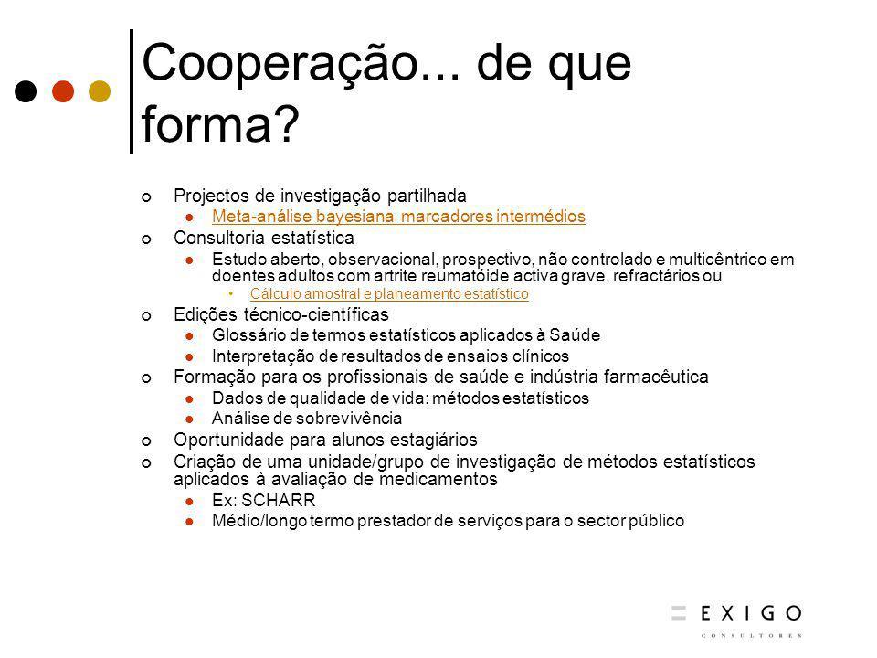 Cooperação... de que forma? Projectos de investigação partilhada Meta-análise bayesiana: marcadores intermédios Consultoria estatística Estudo aberto,