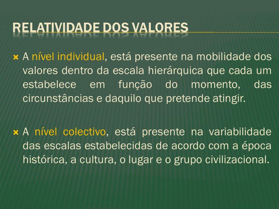 A nível individual, está presente na mobilidade dos valores dentro da escala hierárquica que cada um estabelece em função do momento, das circunstânci