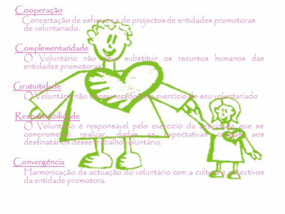 Cooperação Concertação de esforços e de projectos de entidades promotoras de voluntariado.