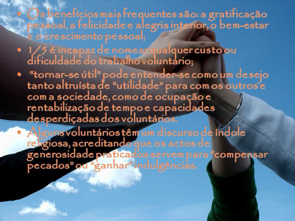 Os benefícios mais frequentes são: a gratificação pessoal, a felicidade e alegria interior, o bem-estar e o crescimento pessoal;Os benefícios mais frequentes são: a gratificação pessoal, a felicidade e alegria interior, o bem-estar e o crescimento pessoal; 1/5 é incapaz de nomear qualquer custo ou dificuldade do trabalho voluntário;1/5 é incapaz de nomear qualquer custo ou dificuldade do trabalho voluntário; tornar-se útil pode entender-se como um desejo tanto altruísta de utilidade para com os outros e com a sociedade, como de ocupação e rentabilização de tempo e capacidades desperdiçadas dos voluntários.