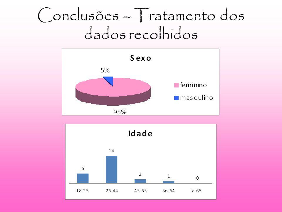 Conclusões – Tratamento dos dados recolhidos