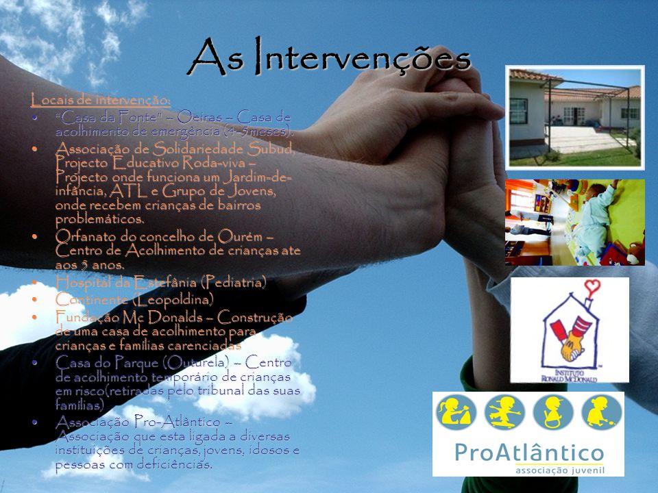 As Intervenções Locais de intervenção: Casa da Fonte – Oeiras – Casa de acolhimento de emergência (4-5meses).Casa da Fonte – Oeiras – Casa de acolhimento de emergência (4-5meses).