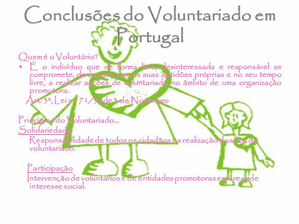 Conclusões do Voluntariado em Portugal Quem é o Voluntário? É o indivíduo que de forma livre, desinteressada e responsável se compromete, de acordo co