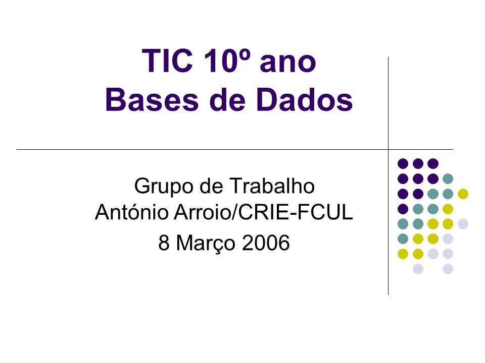 TIC 10º ano Bases de Dados Grupo de Trabalho António Arroio/CRIE-FCUL 8 Março 2006