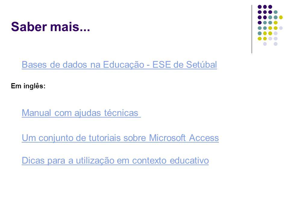 Bases de dados na Educação - ESE de Setúbal Em inglês: Manual com ajudas técnicas Um conjunto de tutoriais sobre Microsoft Access Dicas para a utiliza