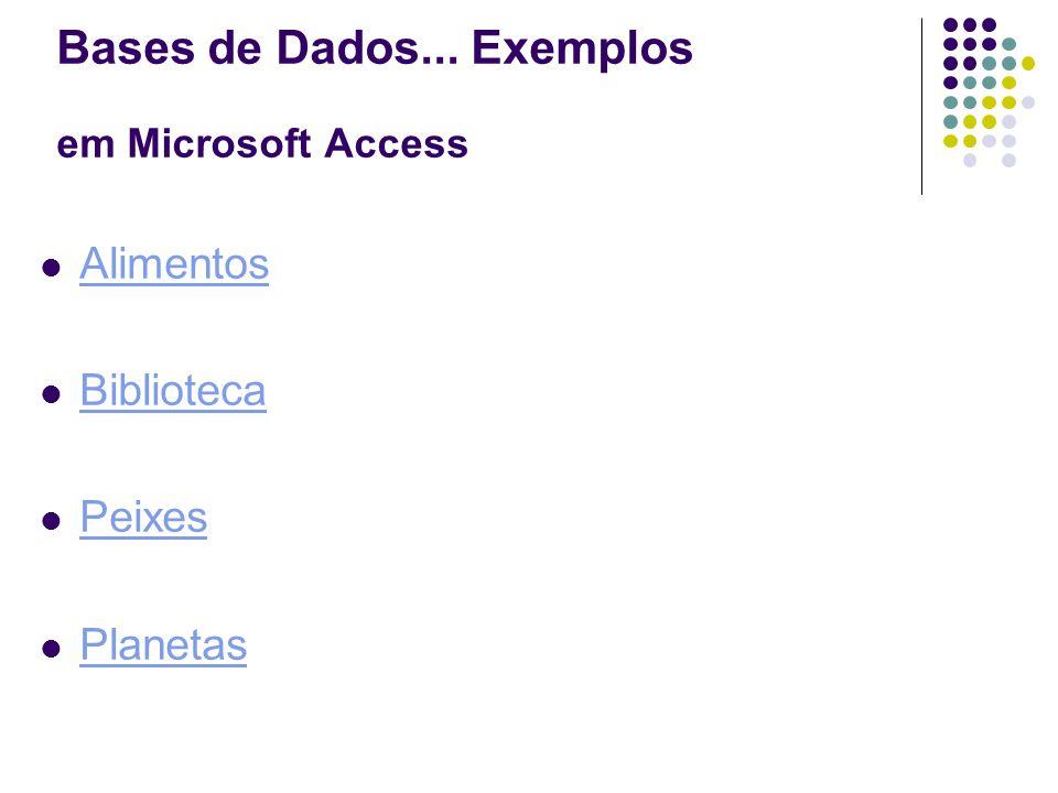Alimentos Biblioteca Peixes Planetas Bases de Dados... Exemplos em Microsoft Access