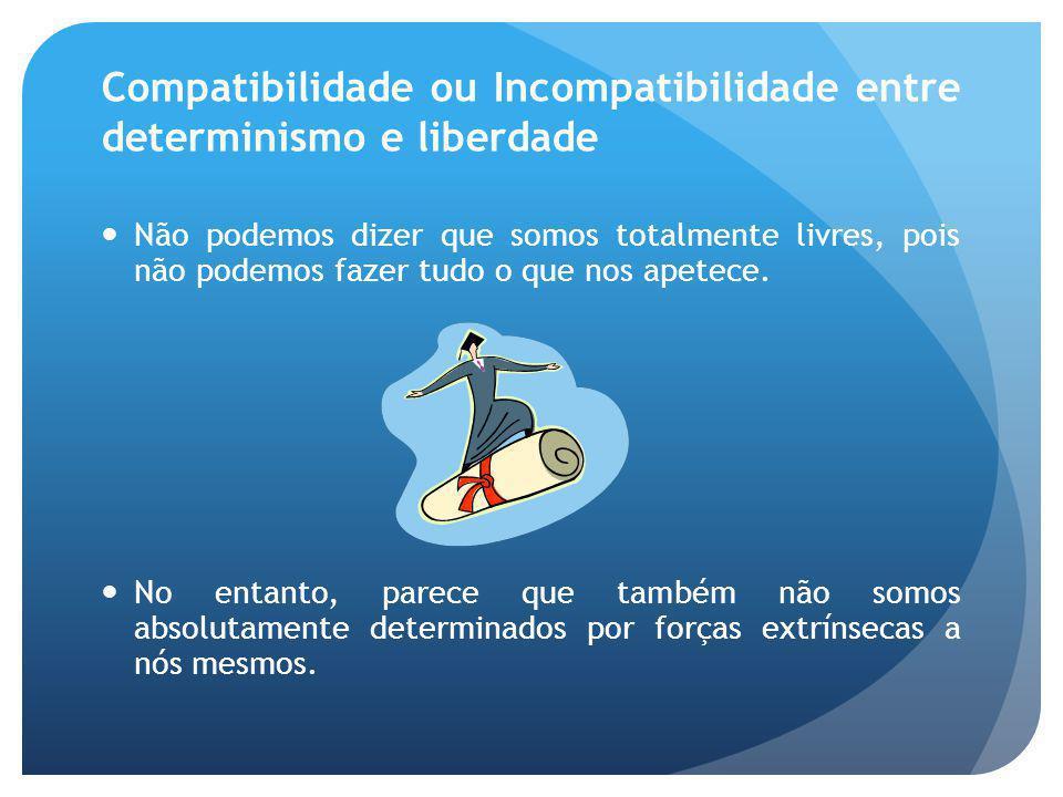 Compatibilidade ou Incompatibilidade entre determinismo e liberdade Não podemos dizer que somos totalmente livres, pois não podemos fazer tudo o que n