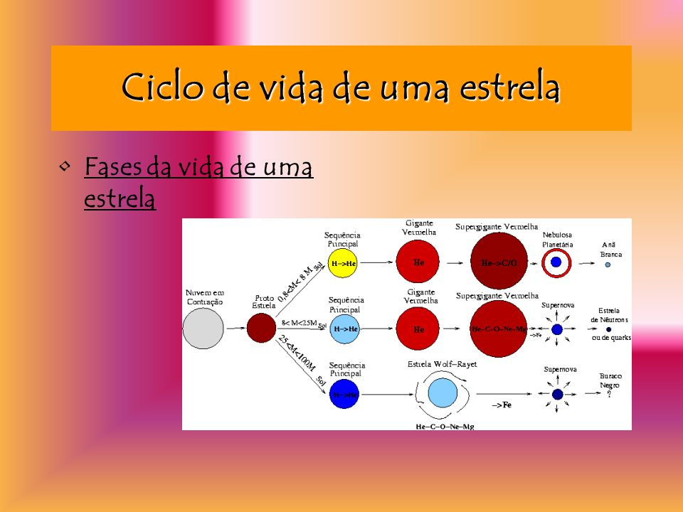 Ciclo de vida de uma estrela Fases da vida de uma estrela
