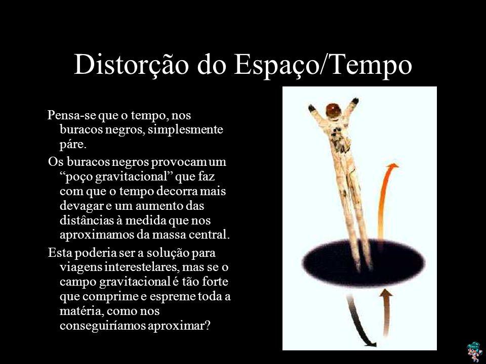 Distorção do Espaço/Tempo Pensa-se que o tempo, nos buracos negros, simplesmente páre.