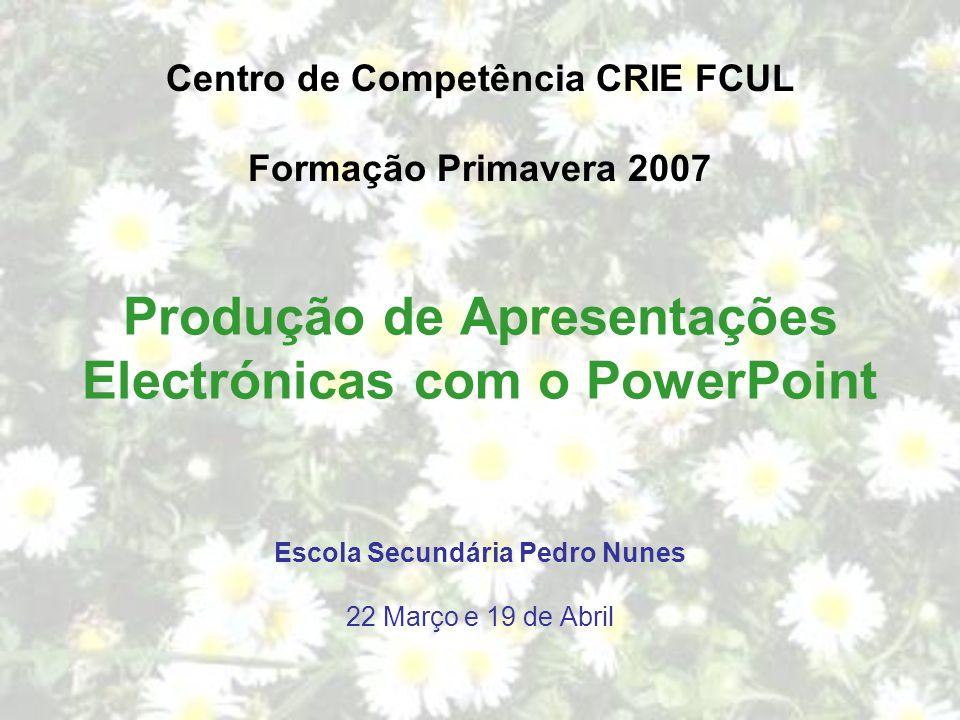 Produção de Apresentações Electrónicas com o PowerPoint Centro de Competência CRIE FCUL Formação Primavera 2007 Escola Secundária Pedro Nunes 22 Março e 19 de Abril