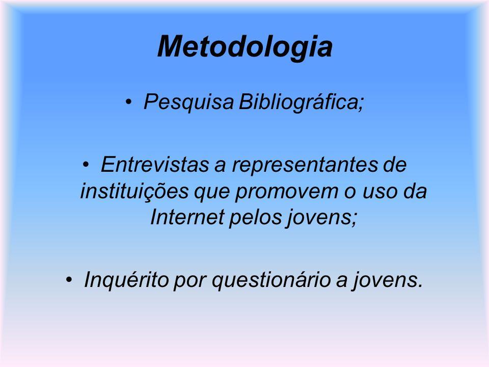 Metodologia Pesquisa Bibliográfica; Entrevistas a representantes de instituições que promovem o uso da Internet pelos jovens; Inquérito por questionár
