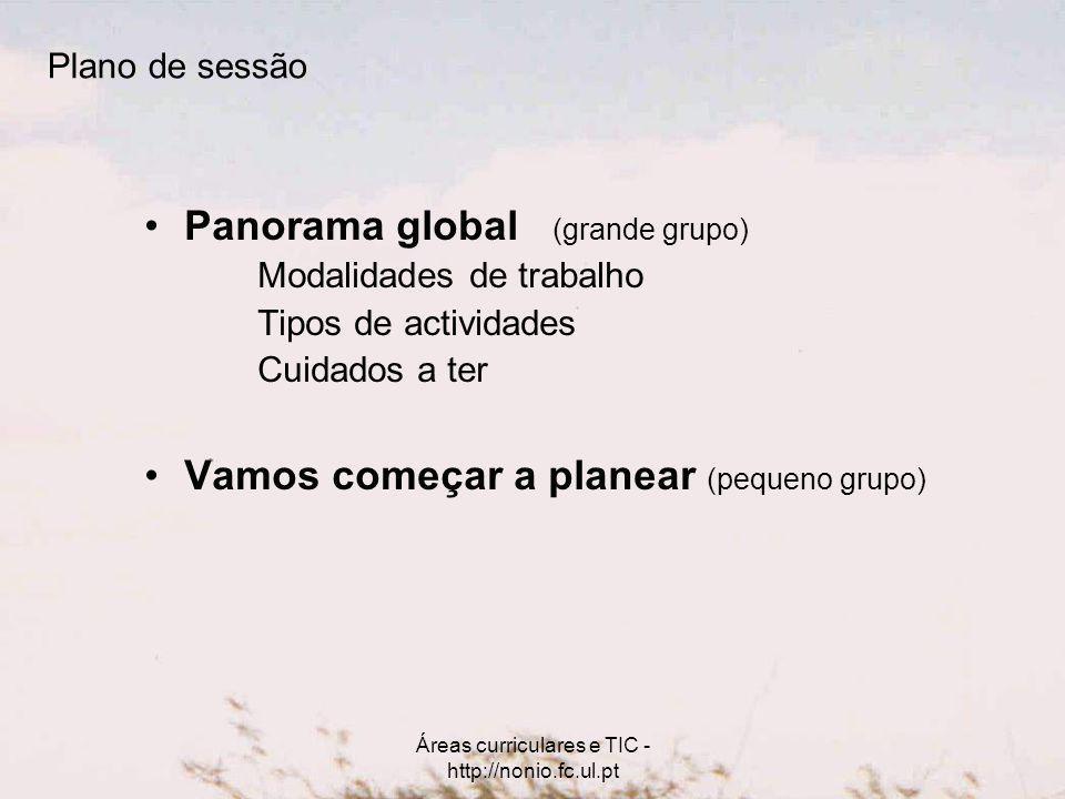 Áreas curriculares e TIC - http://nonio.fc.ul.pt Plano de sessão Panorama global (grande grupo) Modalidades de trabalho Tipos de actividades Cuidados