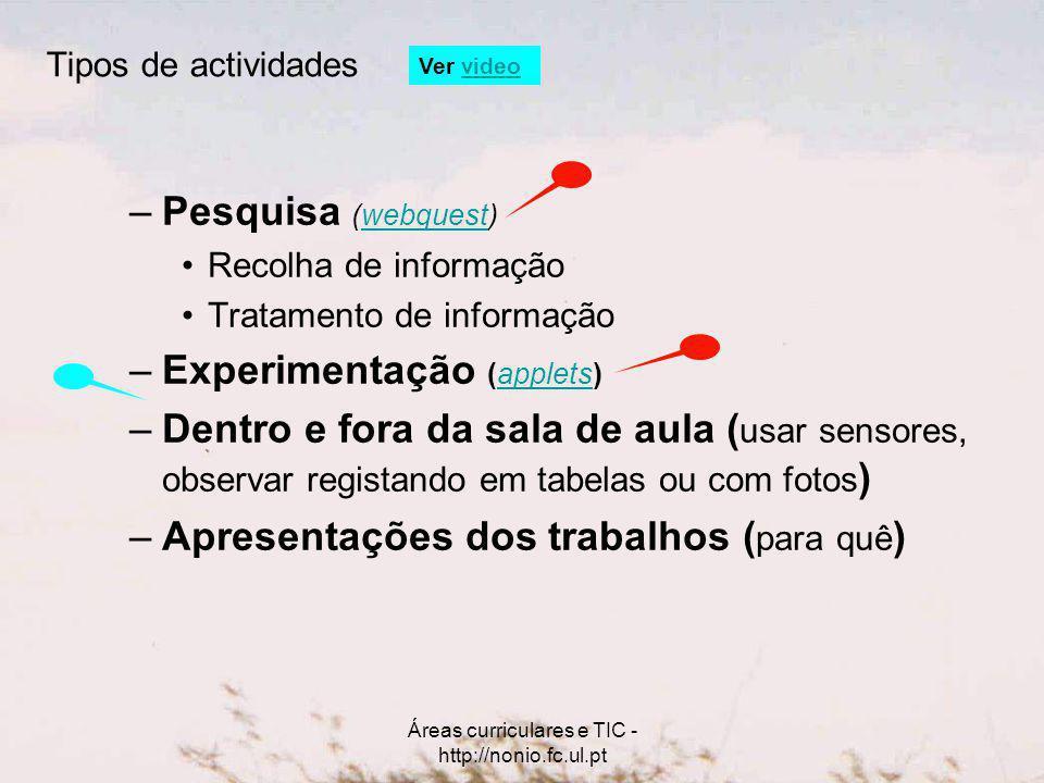 Áreas curriculares e TIC - http://nonio.fc.ul.pt –Pesquisa (webquest)webquest Recolha de informação Tratamento de informação –Experimentação (applets)