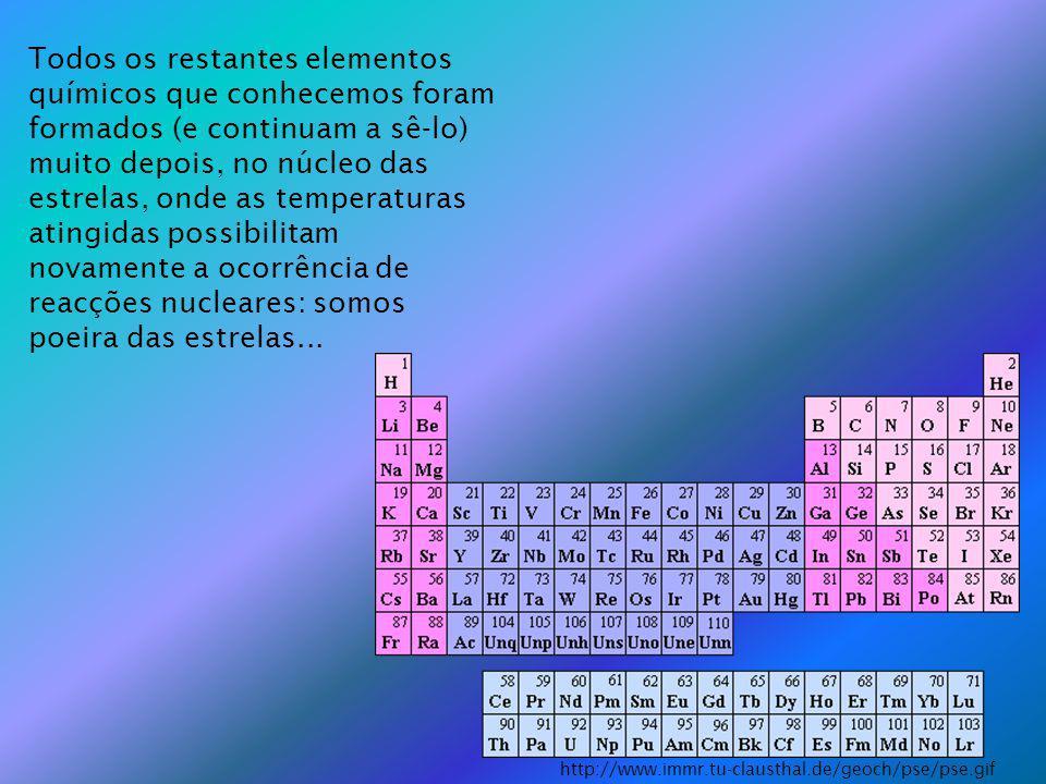 Todos os restantes elementos químicos que conhecemos foram formados (e continuam a sê-lo) muito depois, no núcleo das estrelas, onde as temperaturas atingidas possibilitam novamente a ocorrência de reacções nucleares: somos poeira das estrelas...
