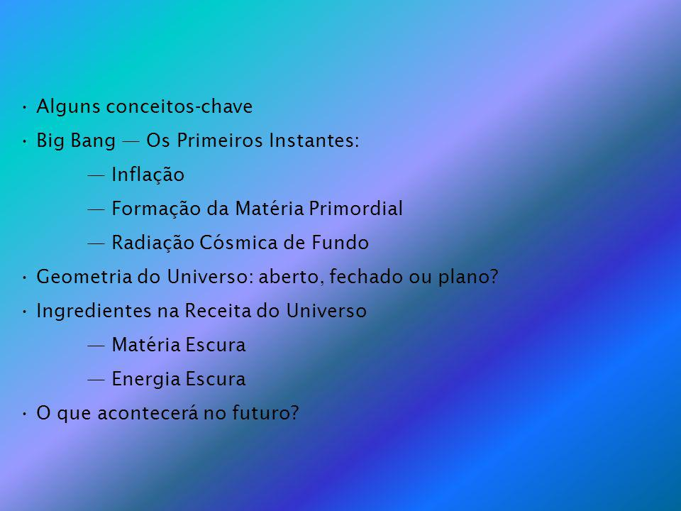 Alguns conceitos-chave Big Bang Os Primeiros Instantes: Inflação Formação da Matéria Primordial Radiação Cósmica de Fundo Geometria do Universo: aberto, fechado ou plano.