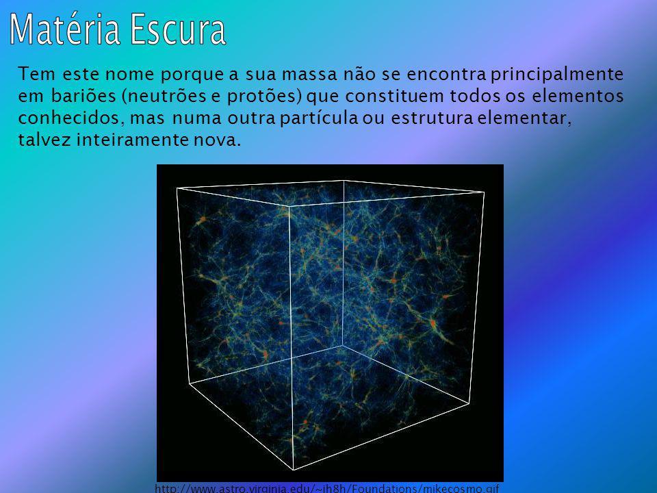 Tem este nome porque a sua massa não se encontra principalmente em bariões (neutrões e protões) que constituem todos os elementos conhecidos, mas numa