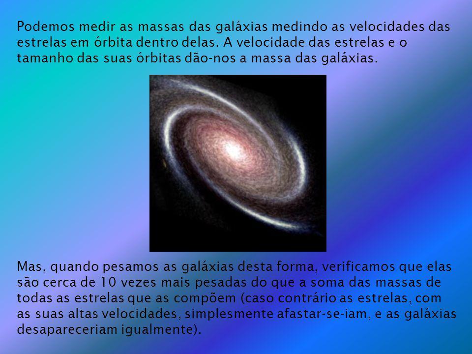 Podemos medir as massas das galáxias medindo as velocidades das estrelas em órbita dentro delas. A velocidade das estrelas e o tamanho das suas órbita