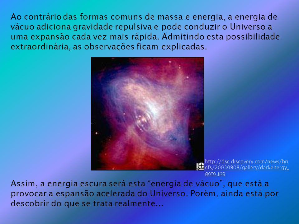 Ao contrário das formas comuns de massa e energia, a energia de vácuo adiciona gravidade repulsiva e pode conduzir o Universo a uma expansão cada vez mais rápida.