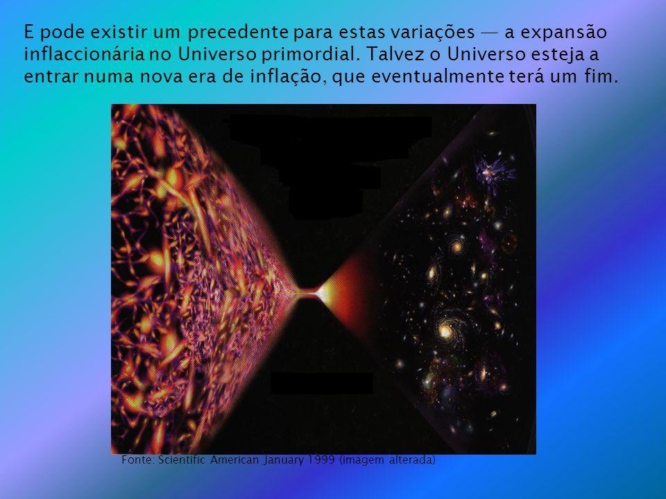 E pode existir um precedente para estas variações a expansão inflaccionária no Universo primordial. Talvez o Universo esteja a entrar numa nova era de