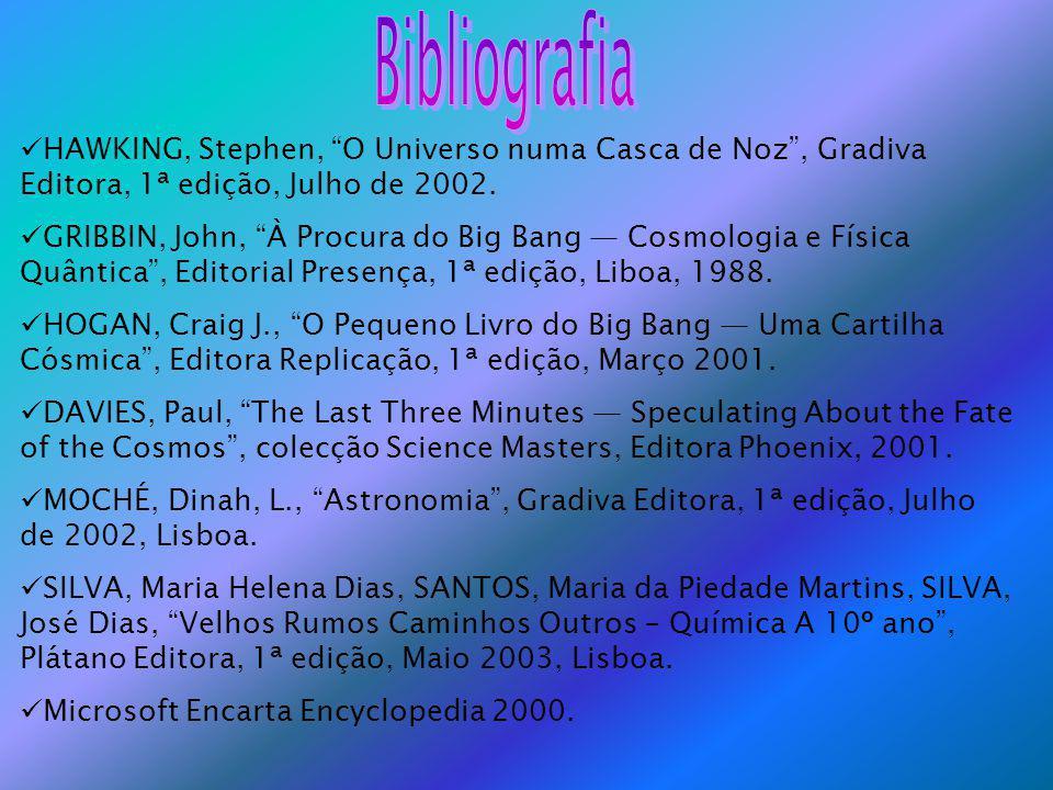 HAWKING, Stephen, O Universo numa Casca de Noz, Gradiva Editora, 1ª edição, Julho de 2002.