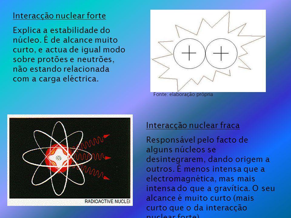 Interacção nuclear forte Explica a estabilidade do núcleo. É de alcance muito curto, e actua de igual modo sobre protões e neutrões, não estando relac