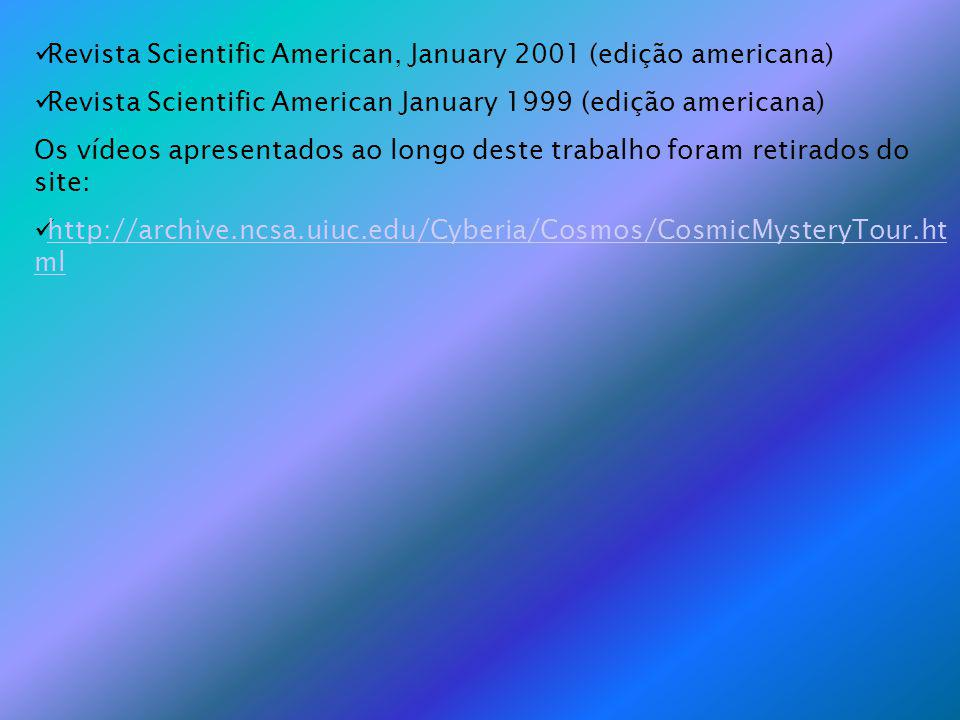Revista Scientific American, January 2001 (edição americana) Revista Scientific American January 1999 (edição americana) Os vídeos apresentados ao longo deste trabalho foram retirados do site: http://archive.ncsa.uiuc.edu/Cyberia/Cosmos/CosmicMysteryTour.ht ml http://archive.ncsa.uiuc.edu/Cyberia/Cosmos/CosmicMysteryTour.ht ml