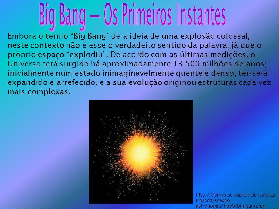 Embora o termo Big Bang dê a ideia de uma explosão colossal, neste contexto não é esse o verdadeito sentido da palavra, já que o próprio espaço explod
