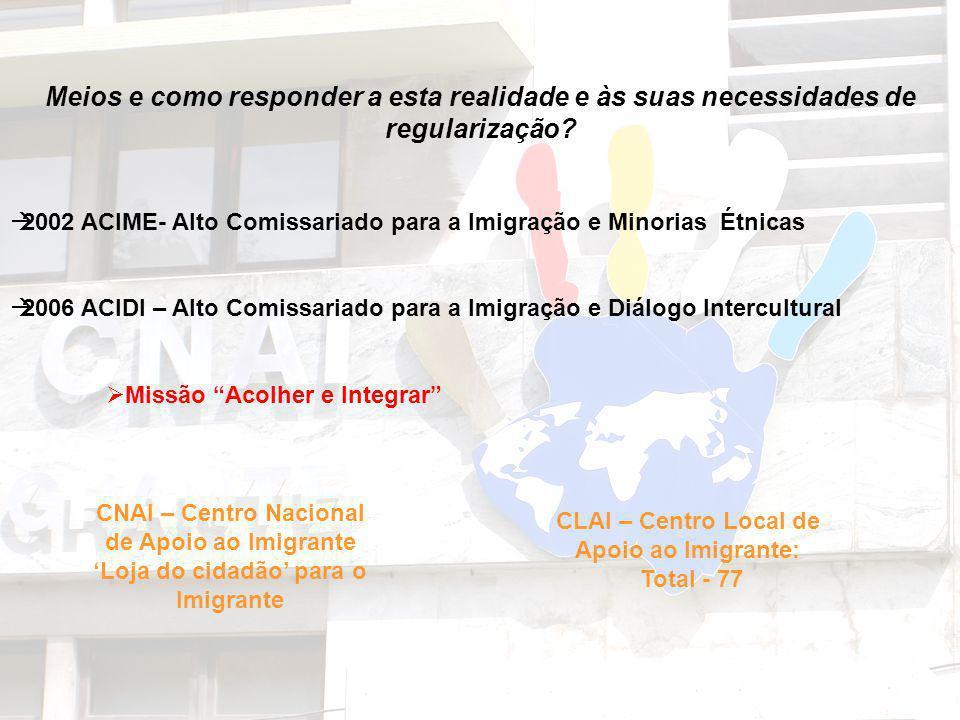 Meios e como responder a esta realidade e às suas necessidades de regularização? 2002 ACIME- Alto Comissariado para a Imigração e Minorias Étnicas 200