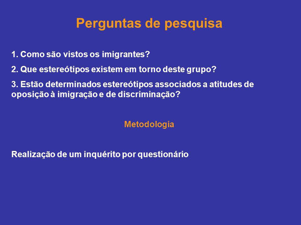 Perguntas de pesquisa 1. Como são vistos os imigrantes? 2. Que estereótipos existem em torno deste grupo? 3. Estão determinados estereótipos associado
