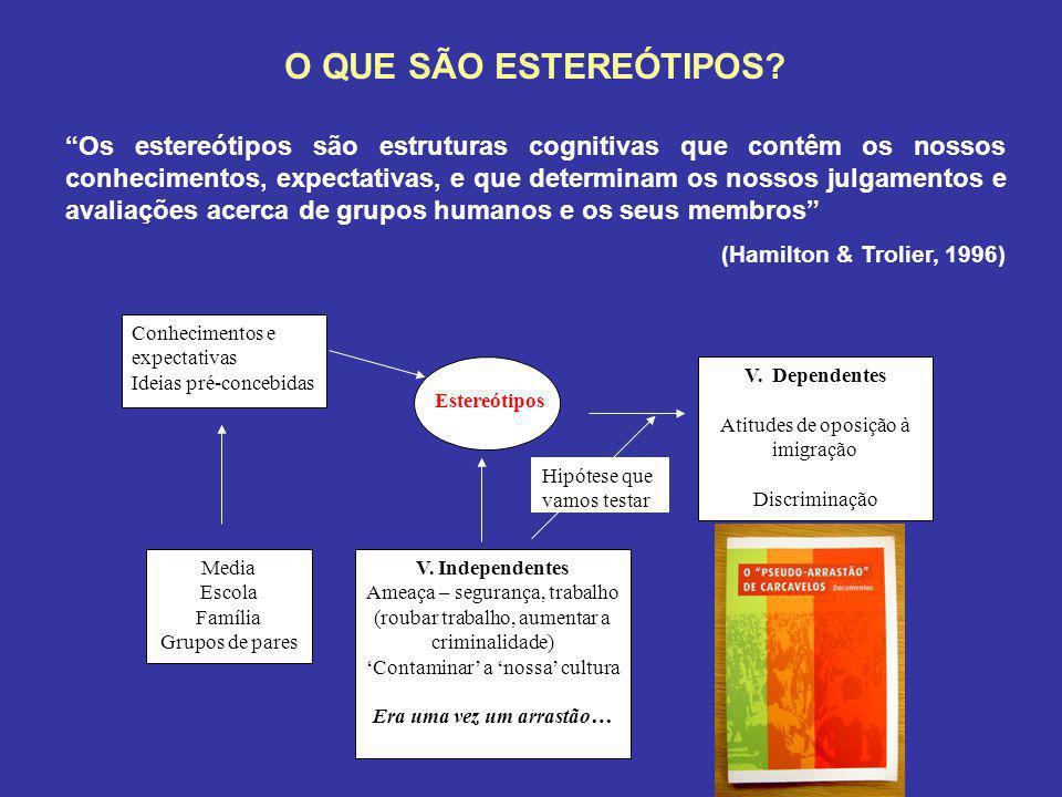 O QUE SÃO ESTEREÓTIPOS? Os estereótipos são estruturas cognitivas que contêm os nossos conhecimentos, expectativas, e que determinam os nossos julgame