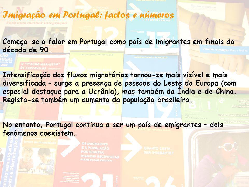 Imigração em Portugal: factos e números Começa-se a falar em Portugal como país de imigrantes em finais da década de 90. Intensificação dos fluxos mig