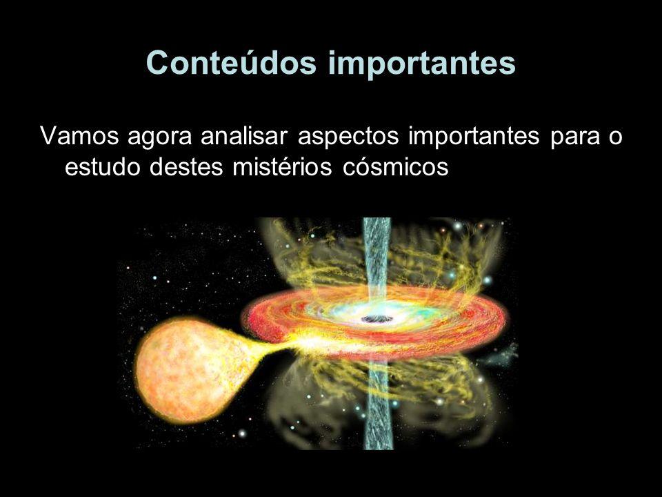 Conteúdos importantes Vamos agora analisar aspectos importantes para o estudo destes mistérios cósmicos